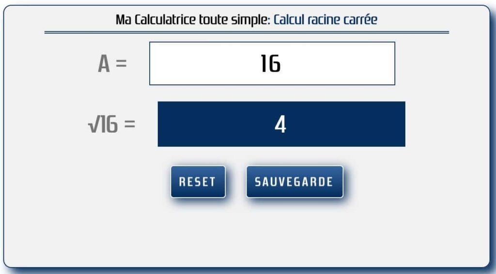 calculer la racine carrée d'un nombre